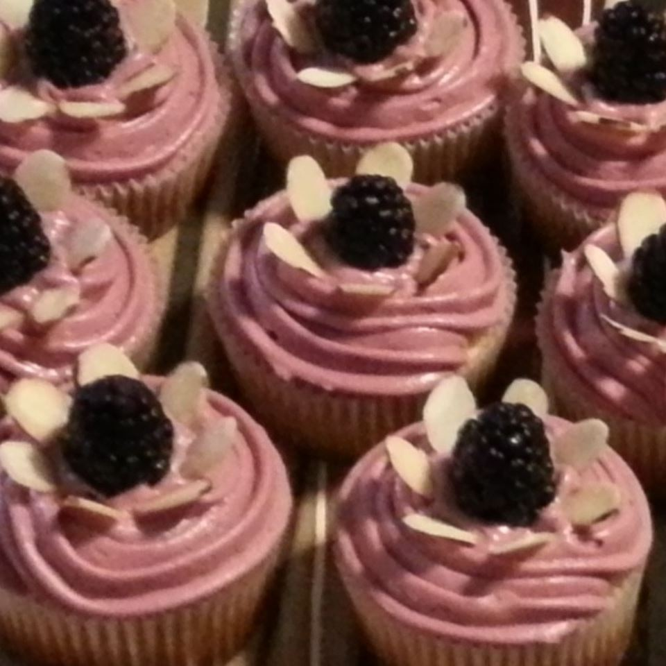 Lemon Cupcake with Blackberry Buttercream