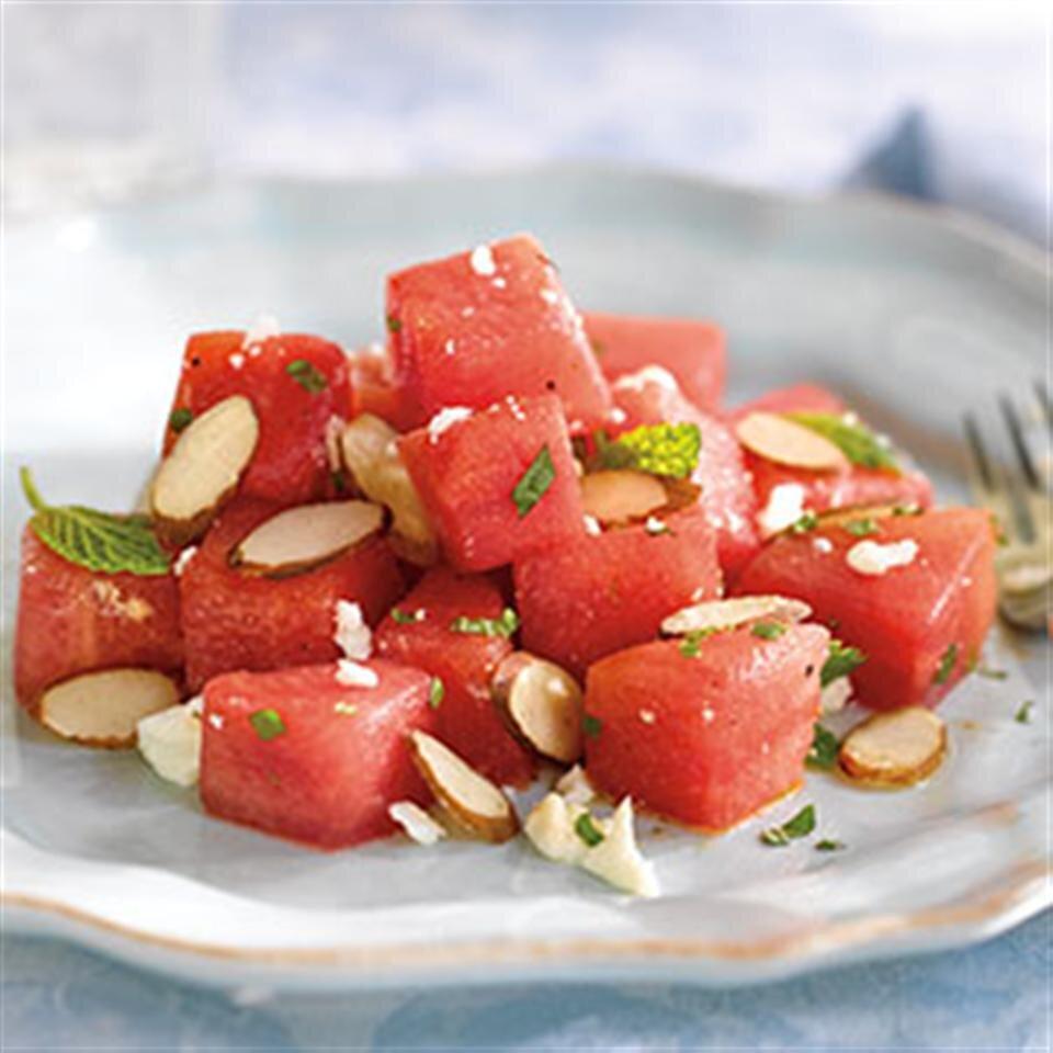 watermelon almond feta and mint salad