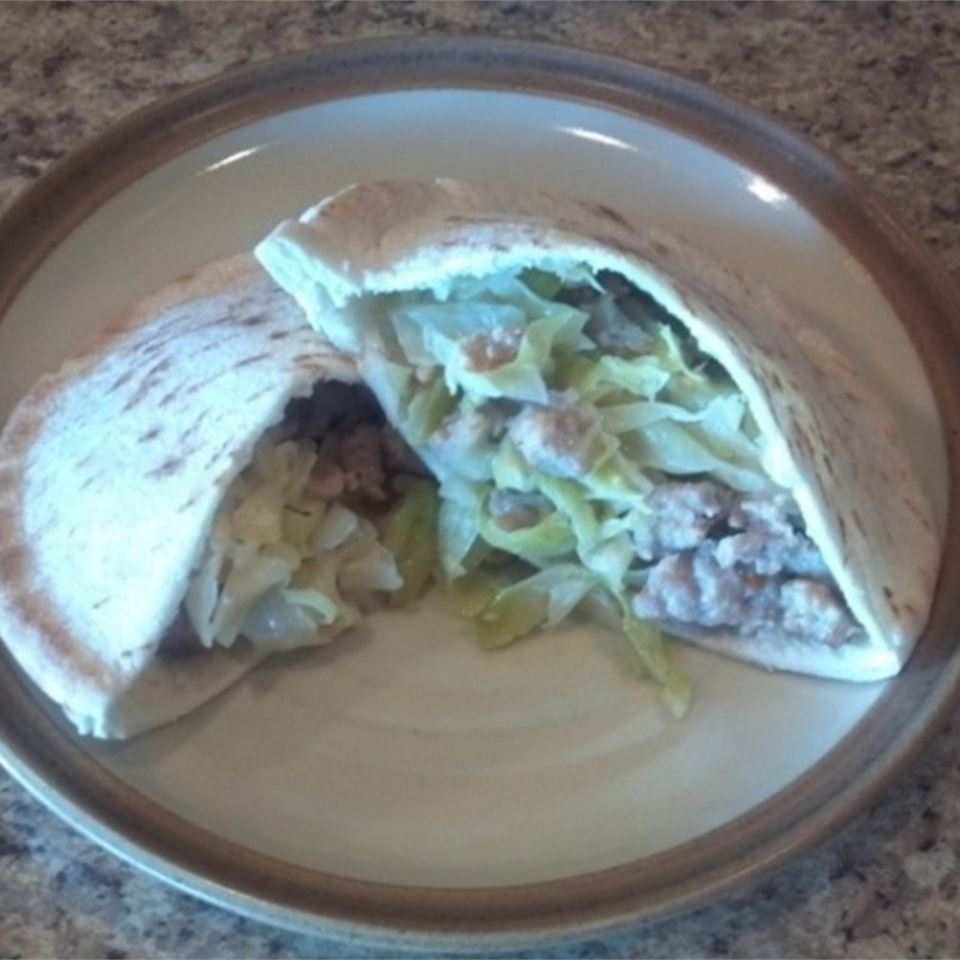 Pork Sausage and Cabbage Pitas