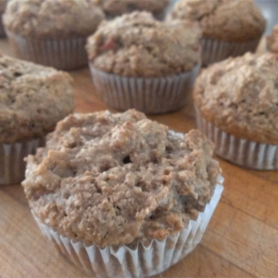 Vegan Rhubarb Bran Muffins