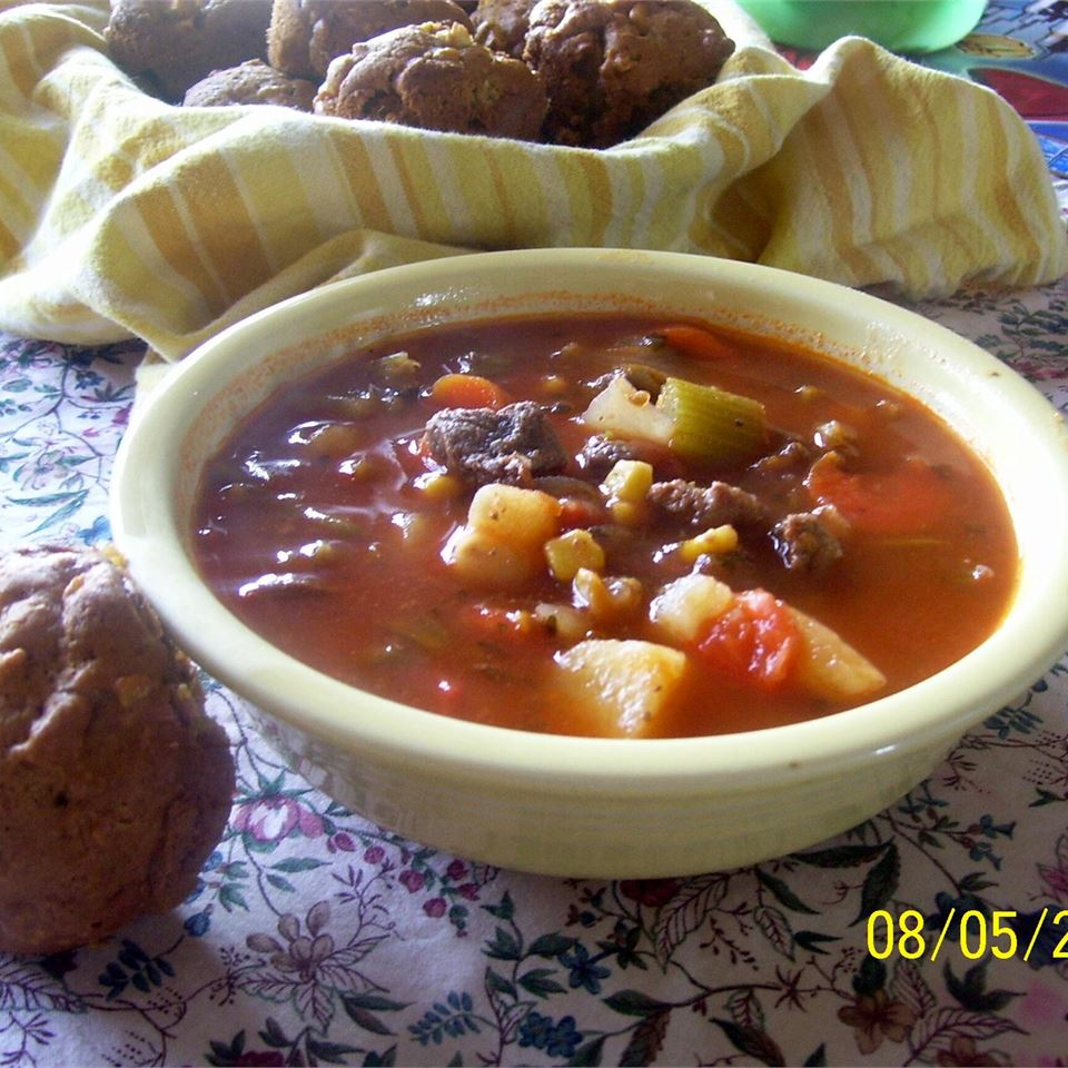 """So simple, you'll combine stew meat with onion soup mix and cans of carrots, corn, green beans, potatoes, and tomatoes. """"Very easy, hardly anything to 'prepare,' one of the best soups I have ever had,"""" says NEPENTHEAN. """"Perfect!"""""""
