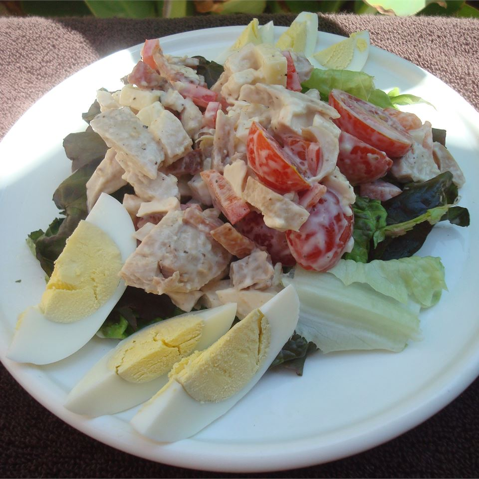 Warm Chicken, Bacon, and Egg Salad with Mayonnaise Dressing
