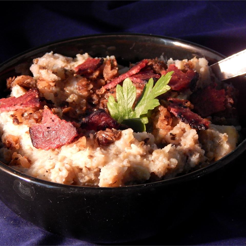 Garlic Mashed Potatoes with Eggplant peawormsworth
