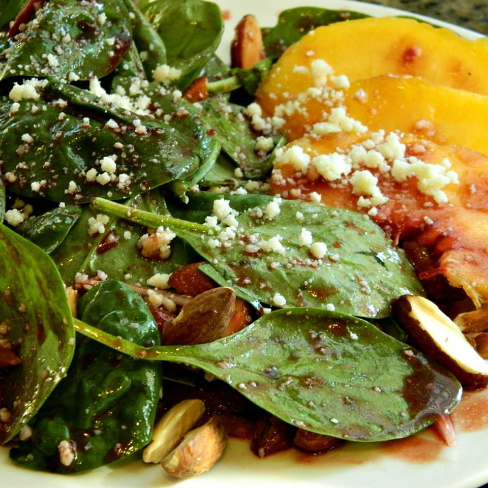 Peach Salad with Raspberry Vinaigrette