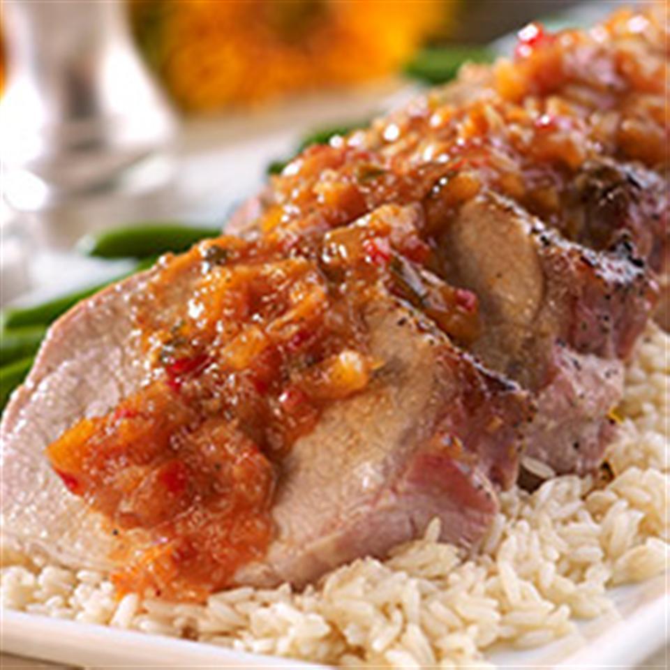 Pork Tenderloin with Tangy Pineapple Pepper Chutney Sauce
