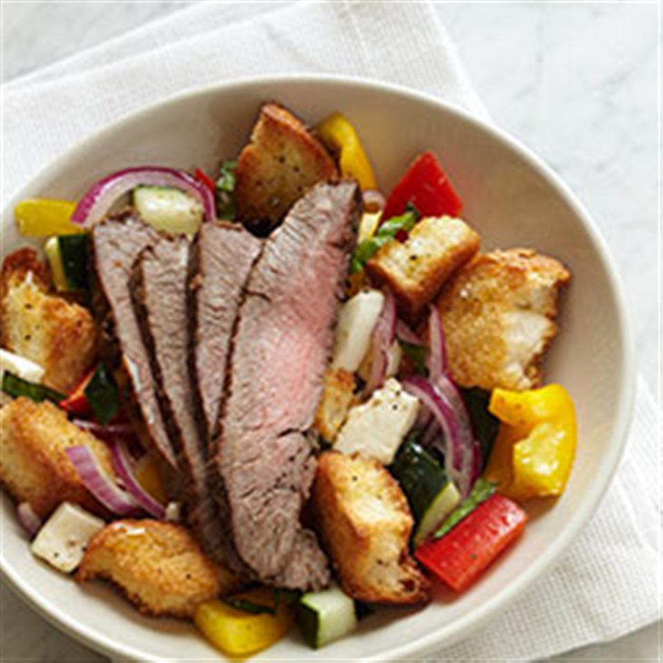 Panzanella Salad with Bison Flank Steak Trusted Brands