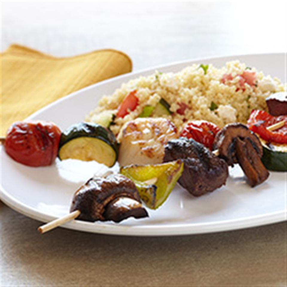 Sea-and-Shore Bison Kabobs with Mediterranean Couscous Salad Trusted Brands