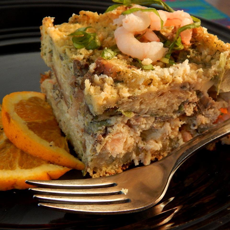 Seafood Strata with Pesto