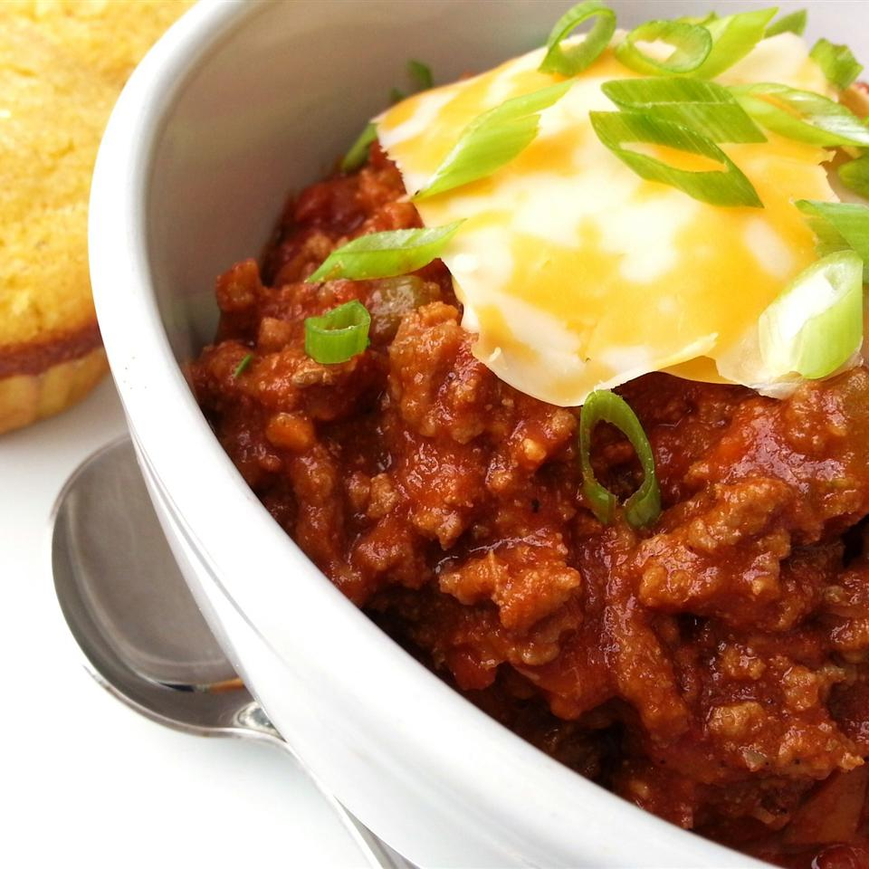 "A simple ground beef chili without the beans. ""Tons of flavor & the perfect consistency,"" raves justcookin. ""A new favorite!"