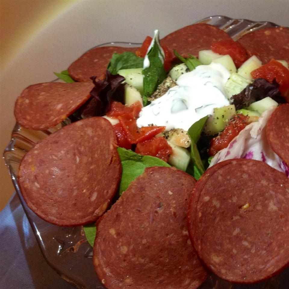 Italian Layered Salad with Bison Pepperoni
