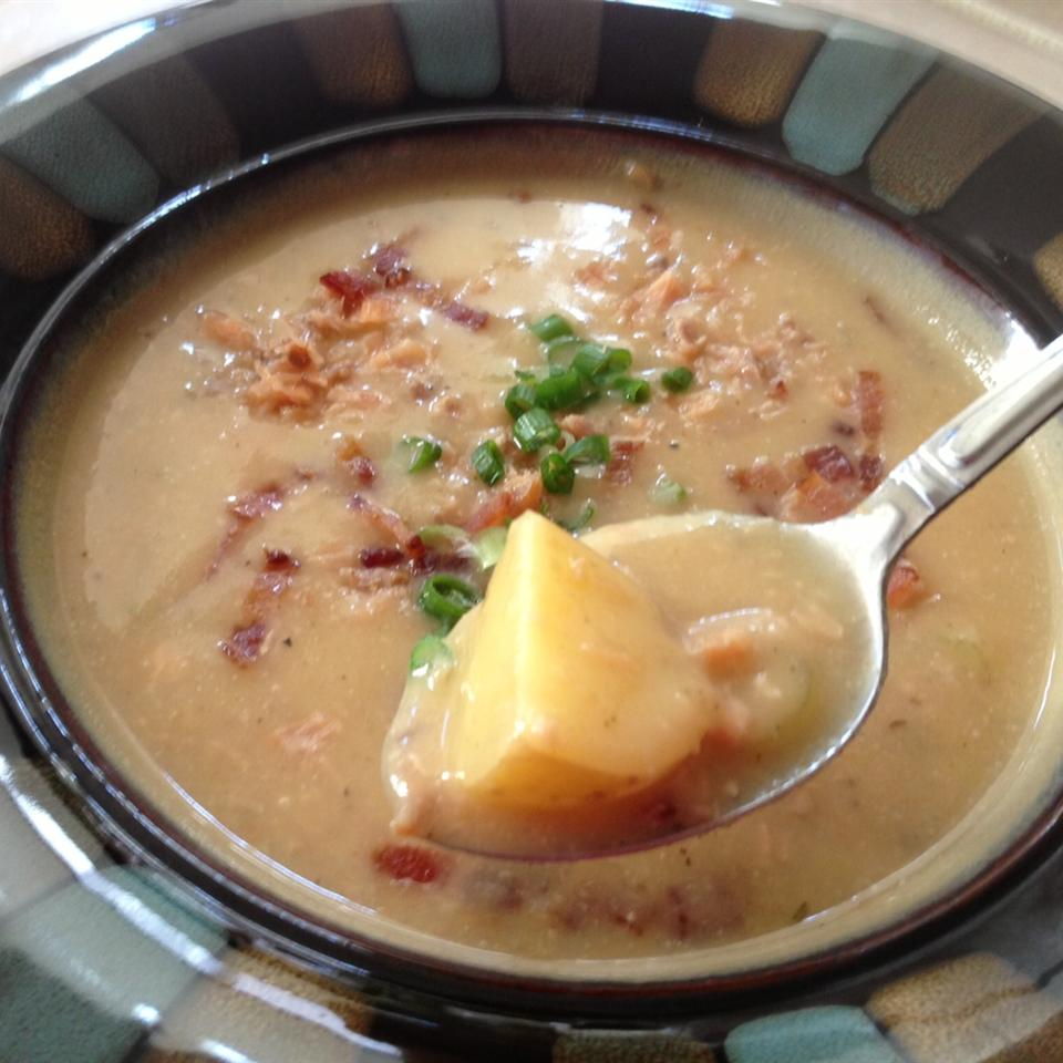 Roasted Garlic Potato Soup with Smoked Salmon Donna Lee Newsome