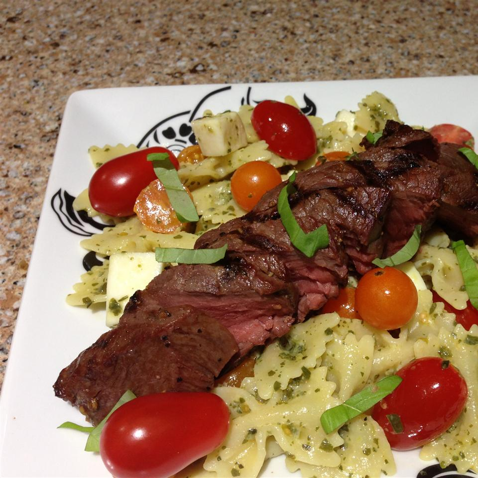 Caprese Bison Sirloin Steak with Bow Tie Pasta thedailygourmet