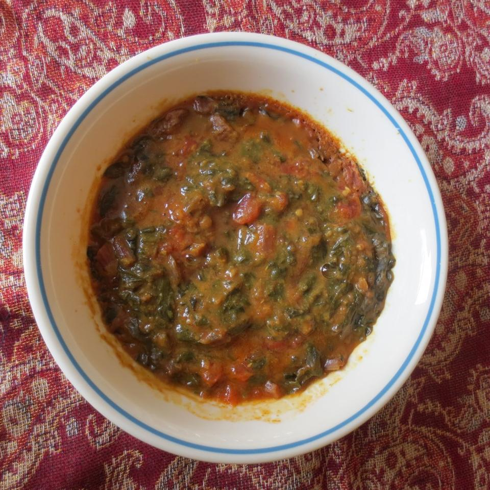 Spinach and Tomato Dal (Indian Lentil Soup) lucky