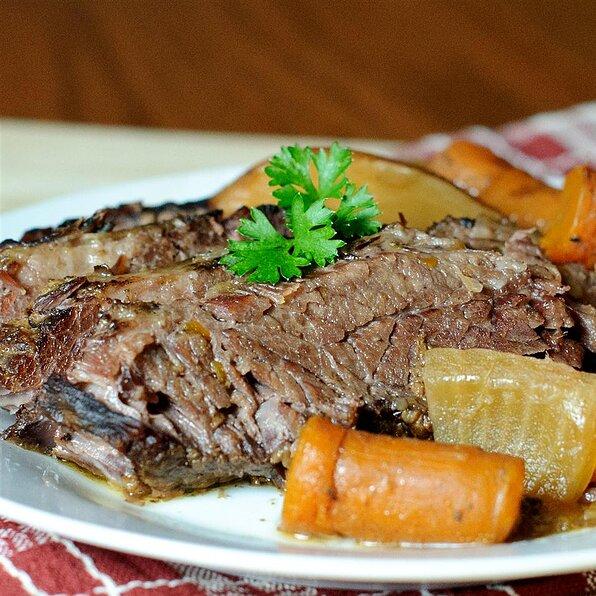 Beer-Braised Bison Brisket with Root Vegetables