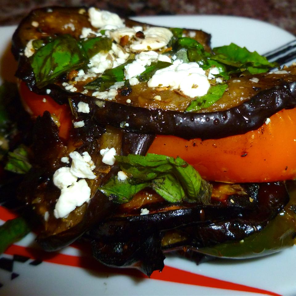 Grilled Eggplant and Peppers with Feta