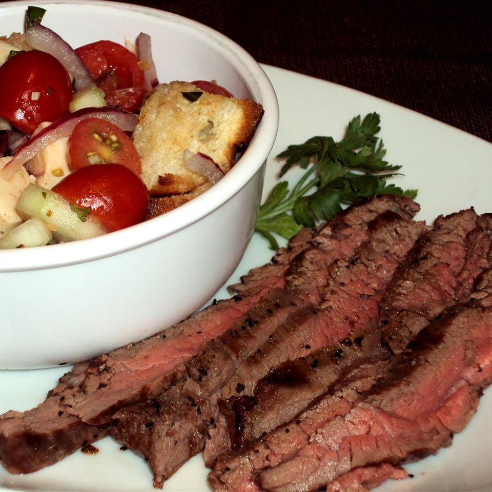 Panzanella Salad with Bison Flank Steak Happyschmoopies
