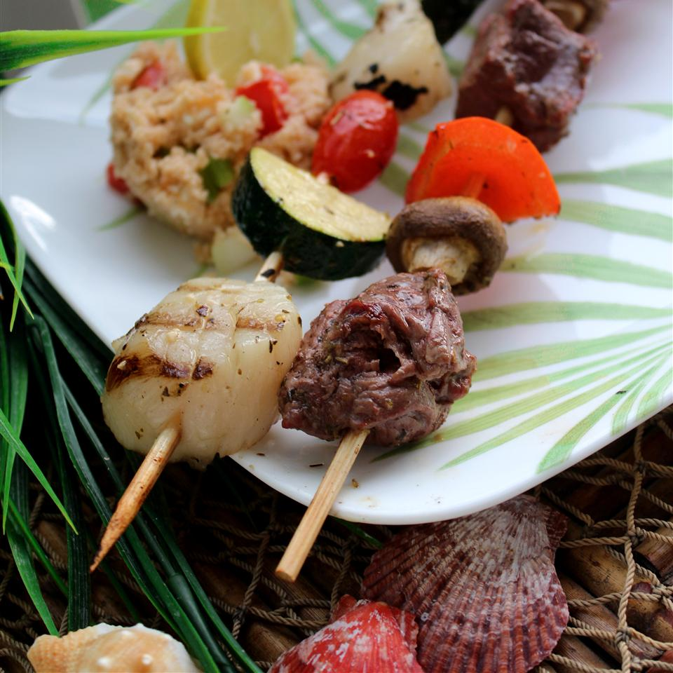 Sea-and-Shore Bison Kabobs with Mediterranean Couscous Salad Jaana Smith Bauman