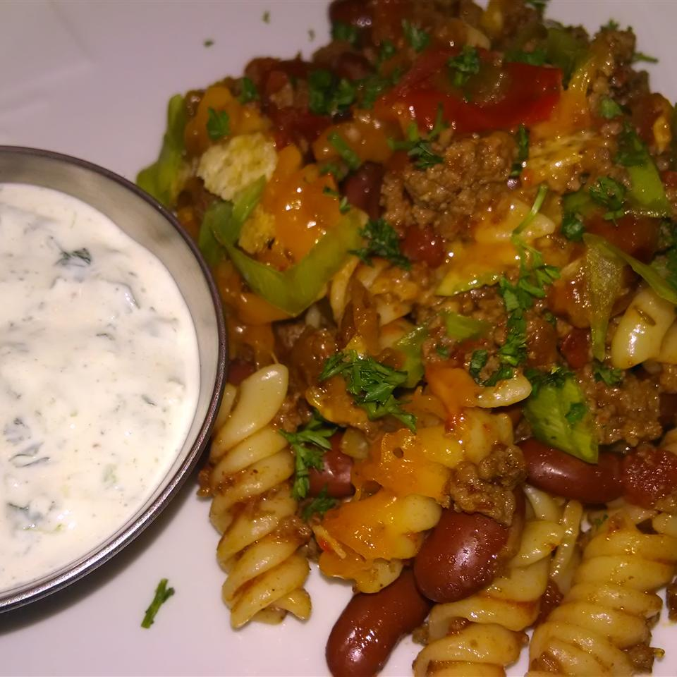 Mexican Bison Bake with Cilantro-Lime Cream