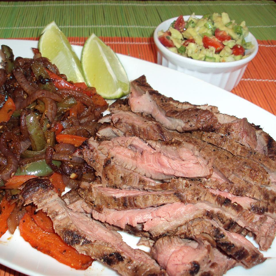 Bison Fajitas with Guacamole Salad