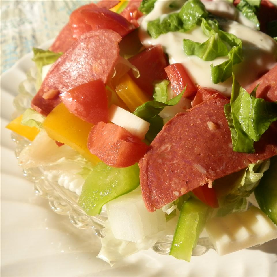 Italian Layered Salad with Bison Pepperoni Cindy Capps Lepp