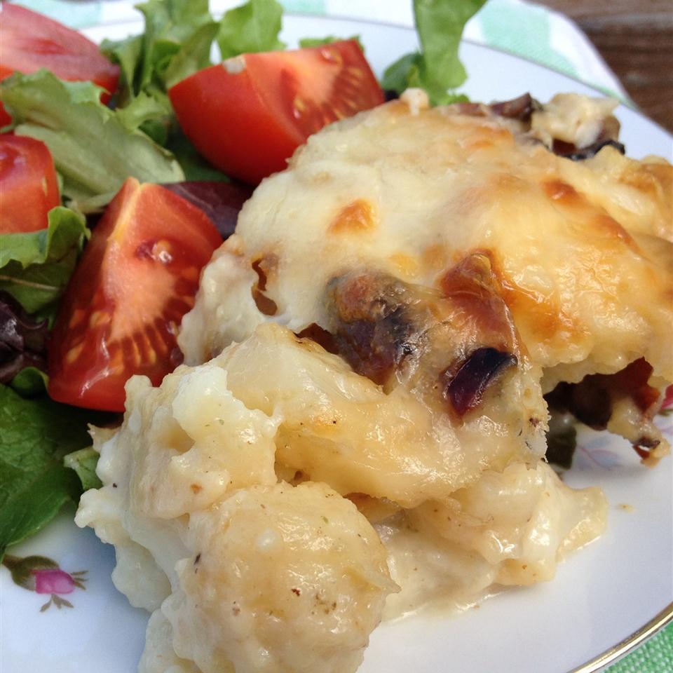 Bacon Swiss Potato Cauliflower Casserole