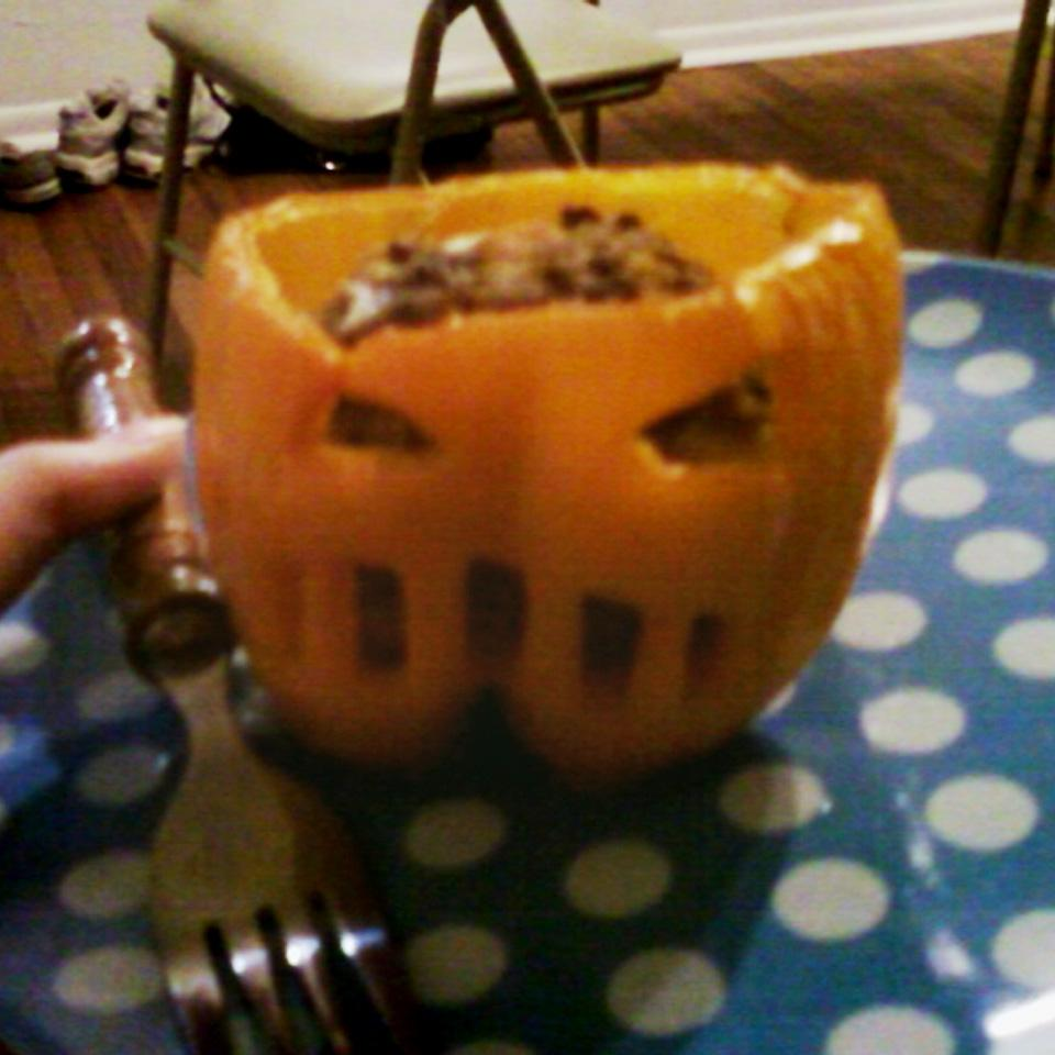 Stuffed Jack-O-Lantern Bell Peppers