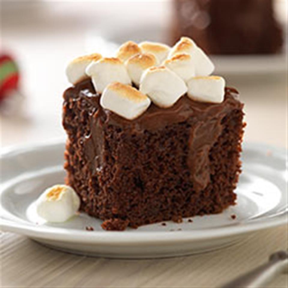 Toasted Marshmallow-Chocolate Pudding Cake