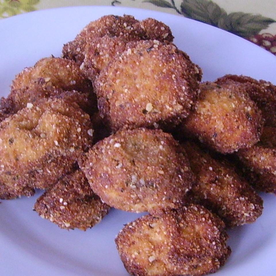 Fried Mushrooms with Feta Cheese Sauce Christina
