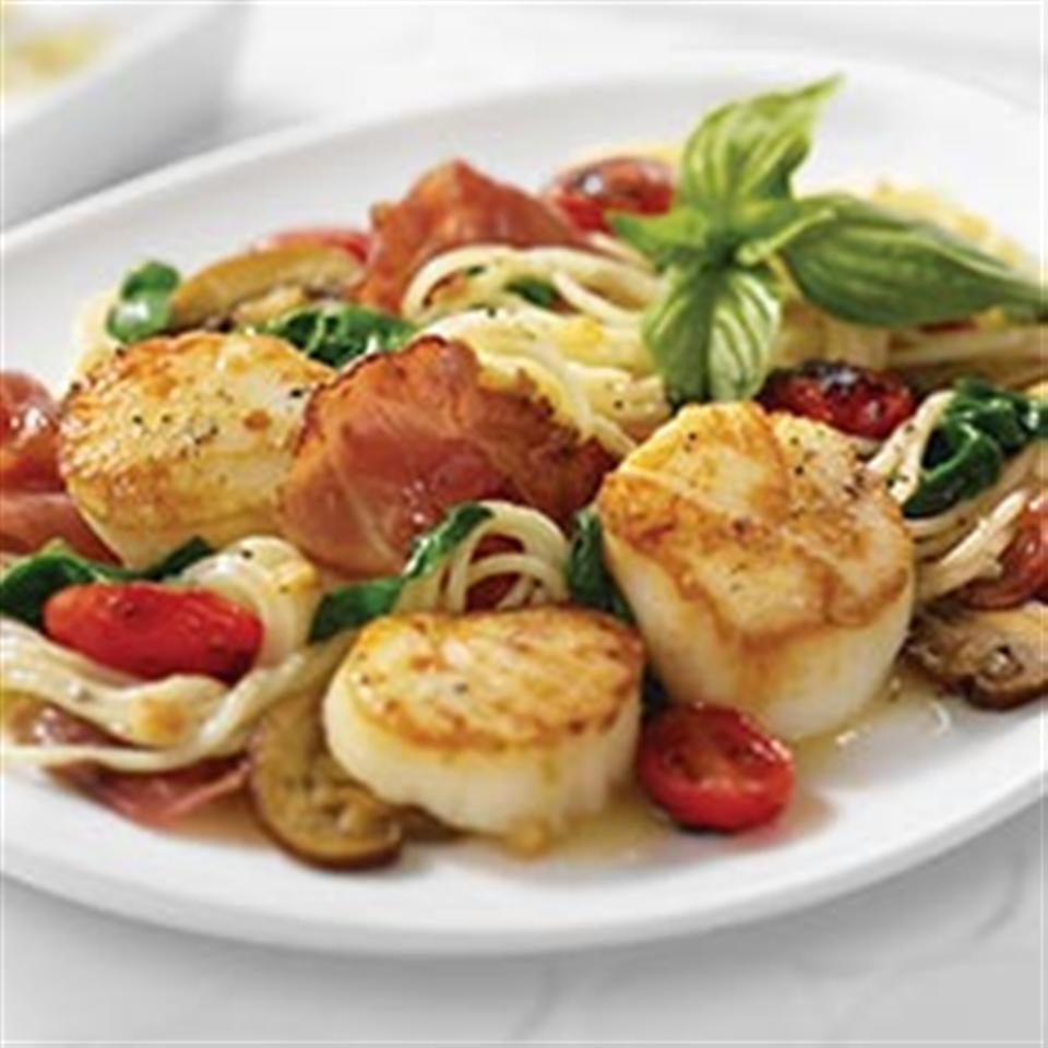 Angel Hair Pasta and Scallops with Margherita® Prosciutto Trusted Brands