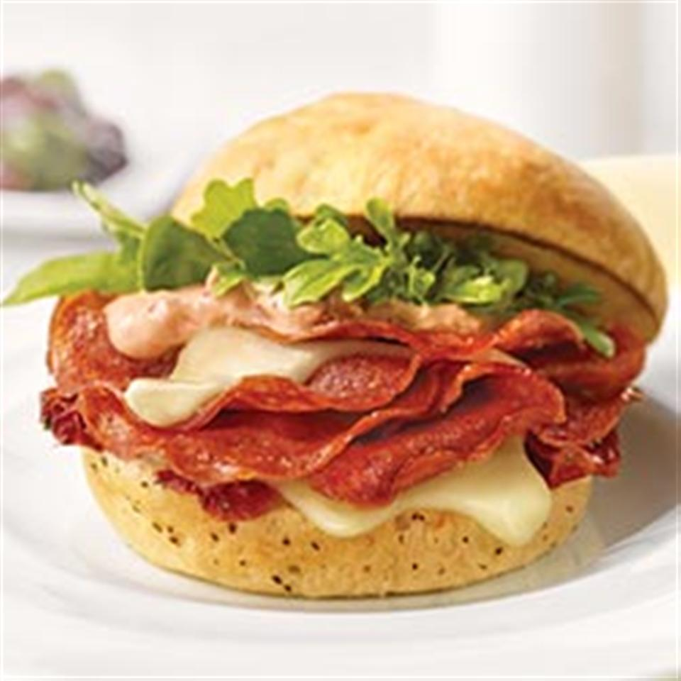 Grilled Margherita® Pepperoni on Focaccia with Sun-Dried Tomato Olio Trusted Brands