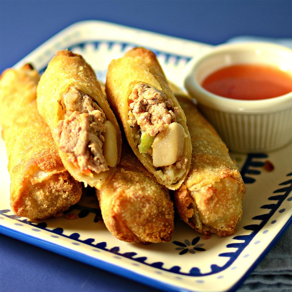 """I was introduced to Lumpia (Filipino egg rolls) by a woman I used to work with,"" says Erica. ""This is my Americanized version. It's great as a meal on the go for a busy family! Eat plain, with ketchup, or mix half ketchup and half mayo."""