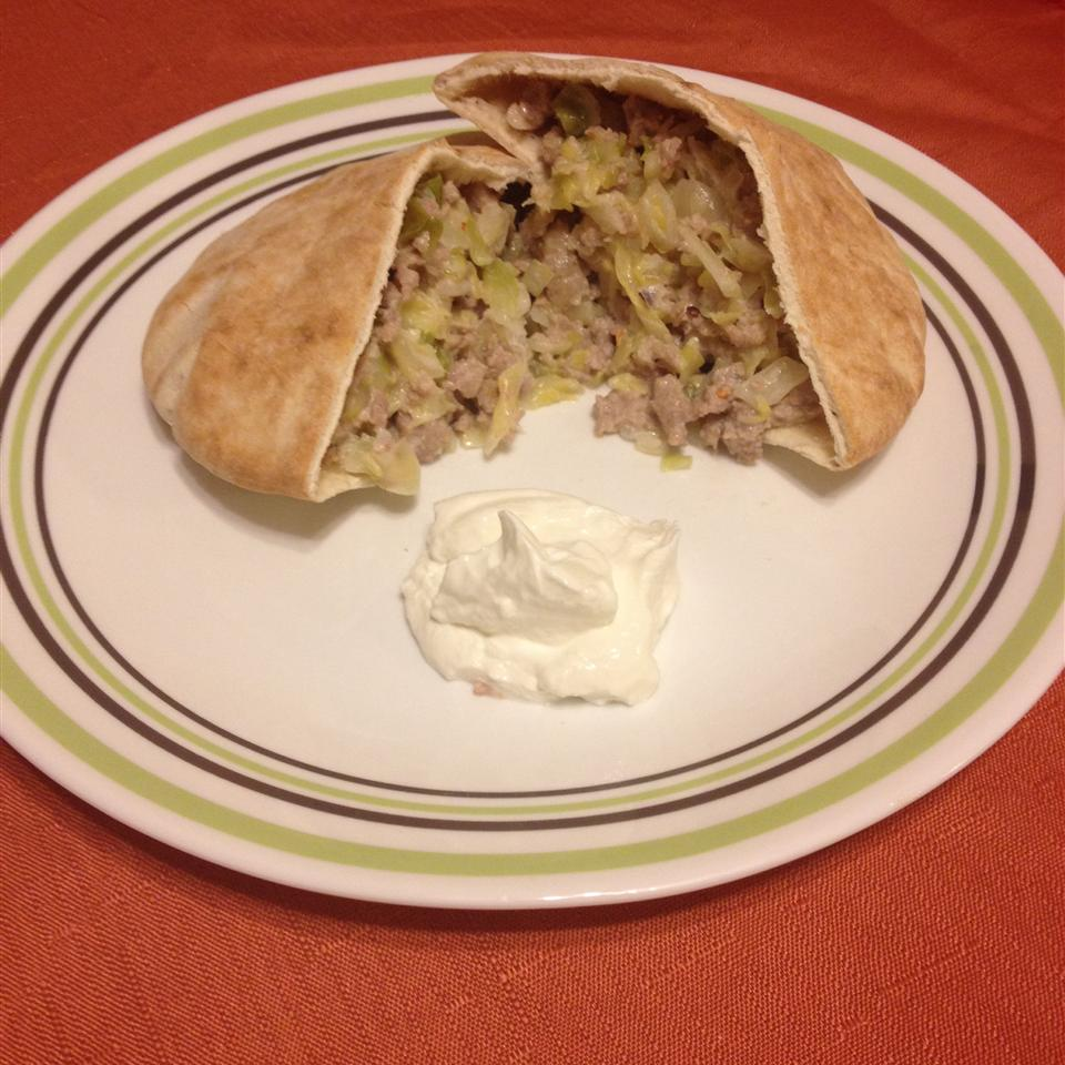 Pork Sausage and Cabbage Pitas Amma Jamma