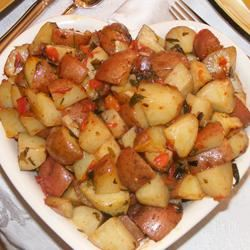 Roasted Potatoes with Tomatoes, Basil, and Garlic