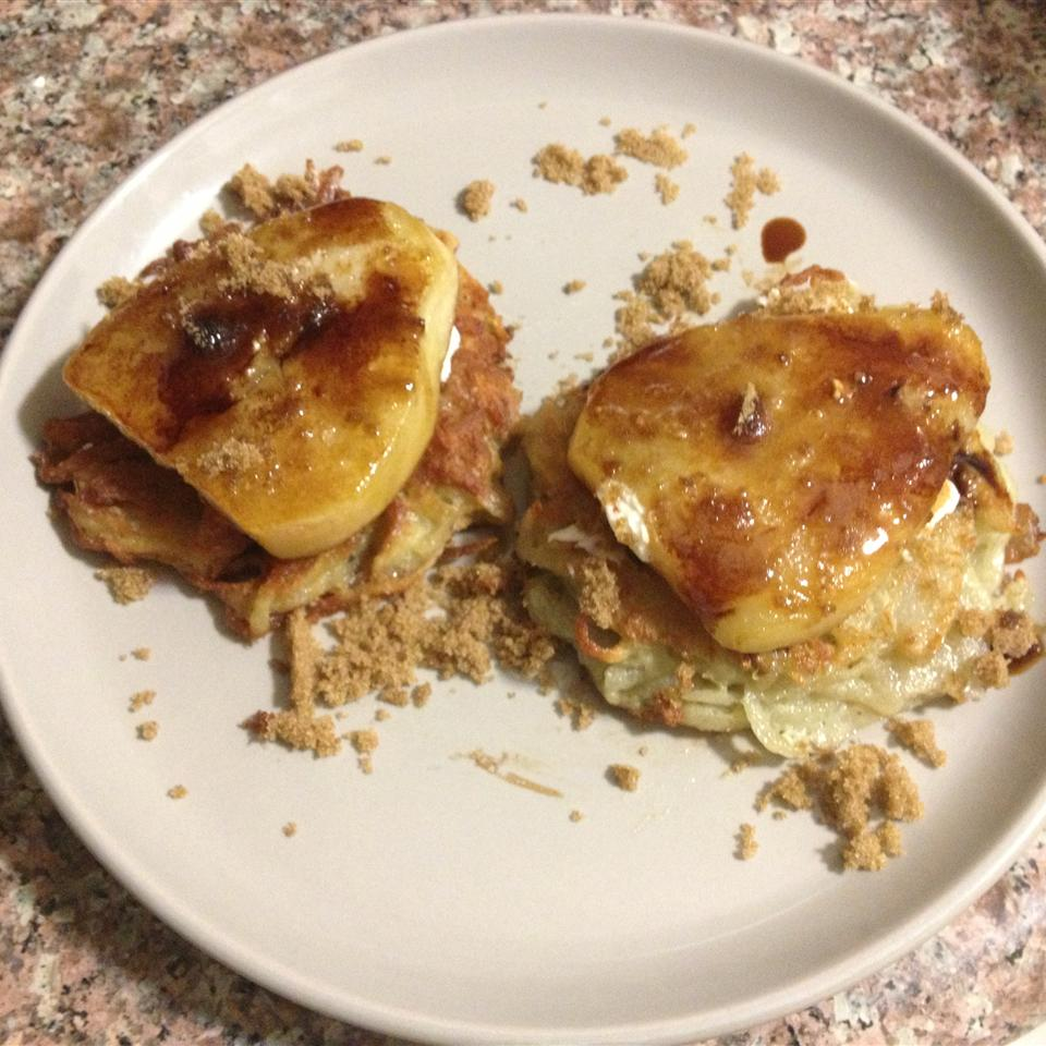 Potato Latkes with Caramelized Pears, Goat Cheese, and Sherry Vinegar Drizzle