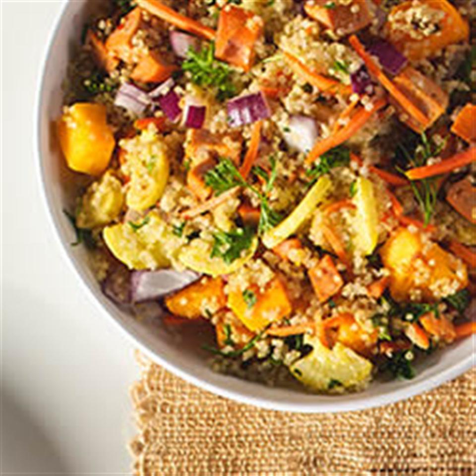 Quinoa Salad with Winter Veggies and Buffalo Chicken Sausage