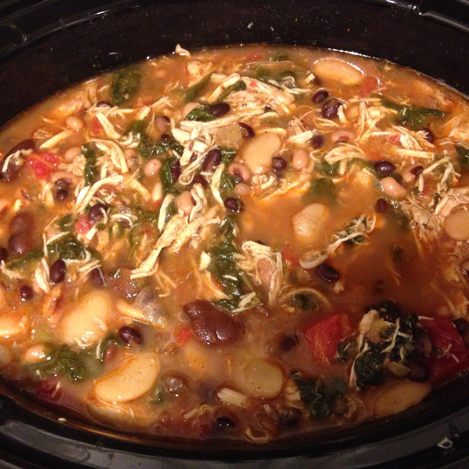 Slow Cooker Chicken Chili with Greens and Beans Valerie Bagwell McGreevy