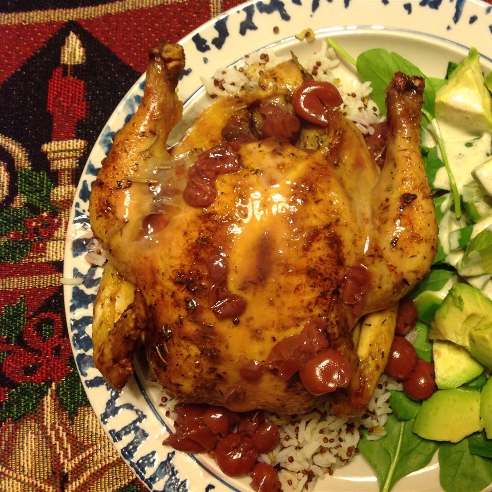 Cornish Hen with Tart Cherry Sauce