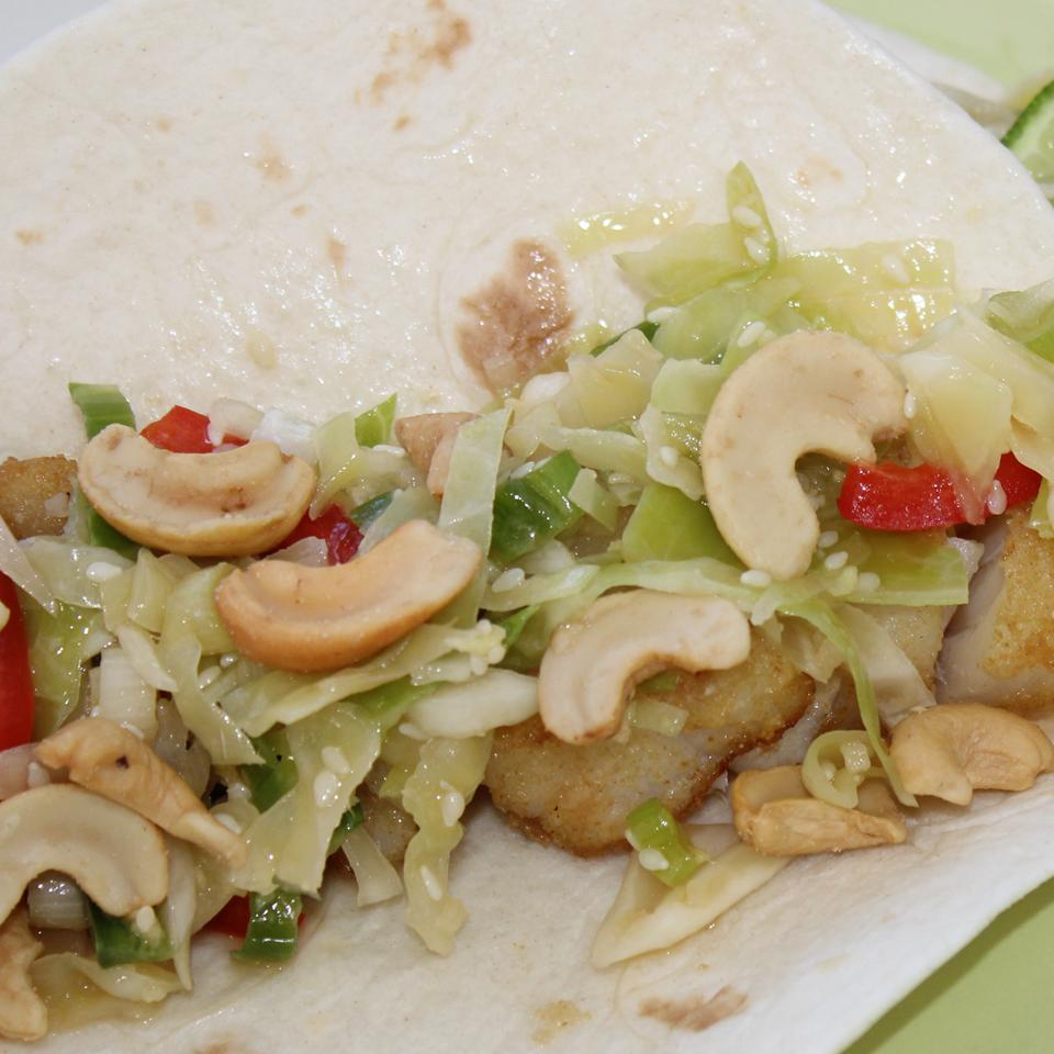 Asian Fish Tacos with Sesame-Ginger Slaw