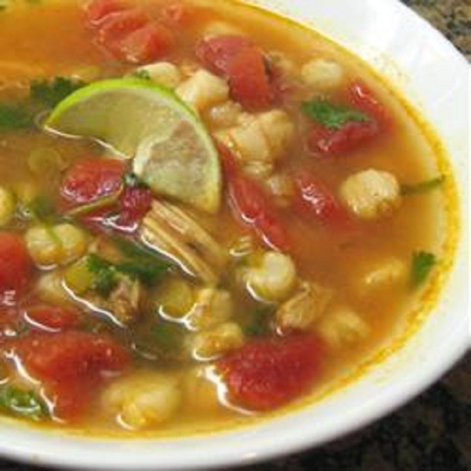Chicken and Hominy Soup with Lime and Cilantro