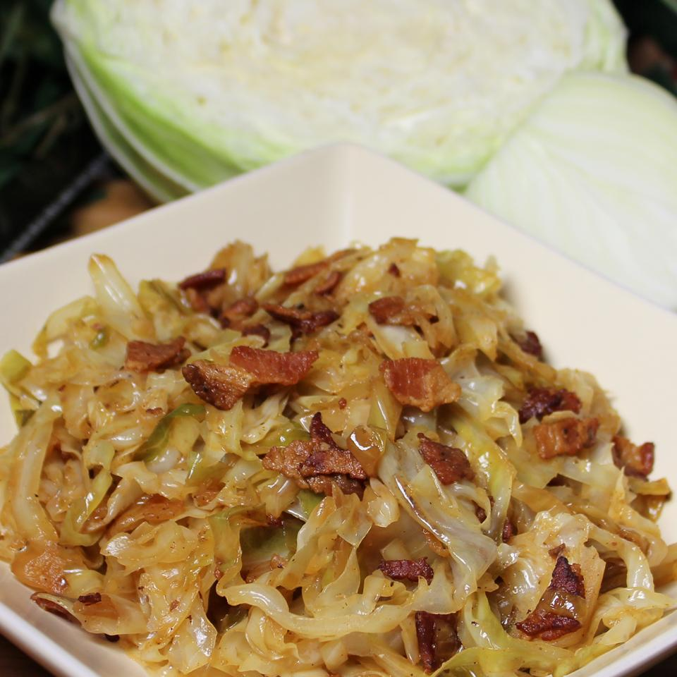 Fried Cabbage with Bacon, Onion, and Garlic Paula
