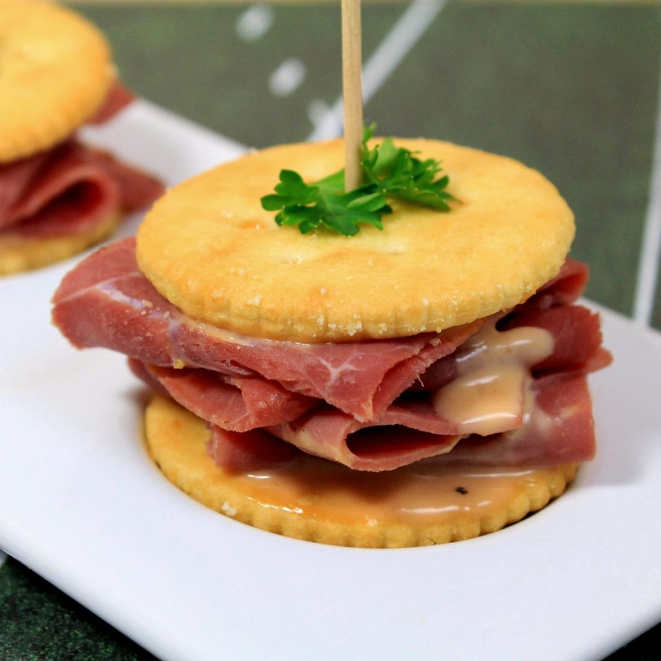 RITZ Pastrami and Corned Beef Mini Sandwich, created by Carnegie Deli Melissa Goff
