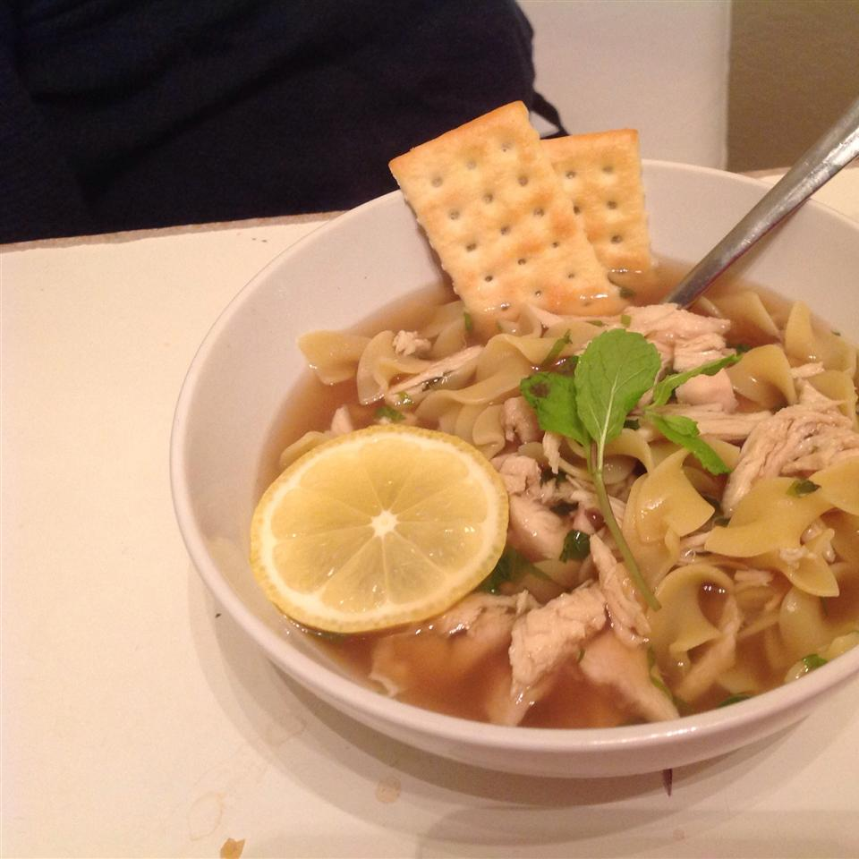 """""""We absolutely loved this Portuguese version of chicken noodle soup,"""" says Jarrie. """"So tasty for so little effort. I used leftover rotisserie chicken, so my meat wasn't all pretty and julienned, but it was delicious and thrifty nonetheless."""""""