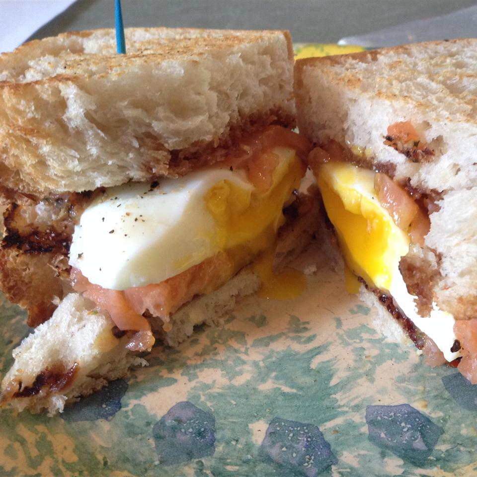 Smoked Salmon Sandwich with Poached Egg