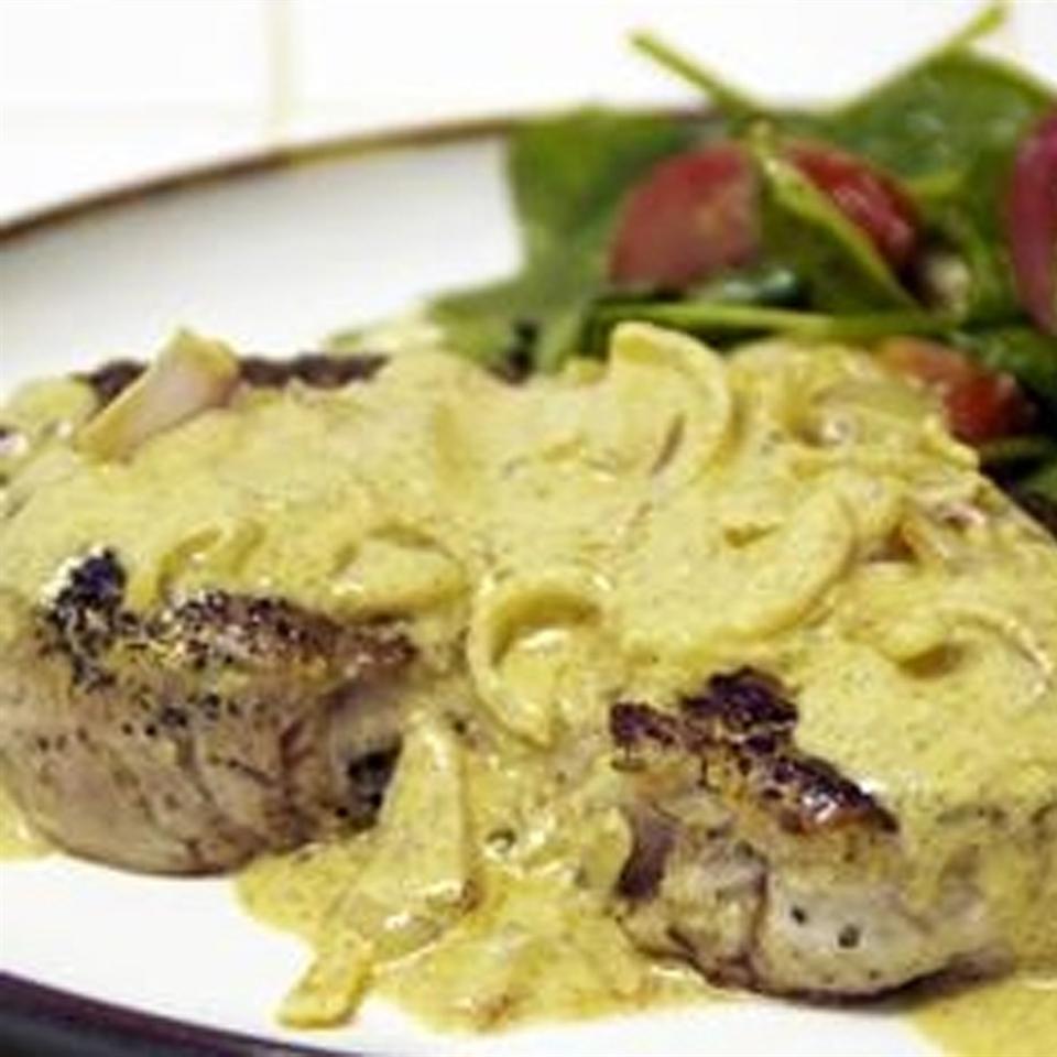 Boneless Pork Chop with Shallot Mustard Sauce