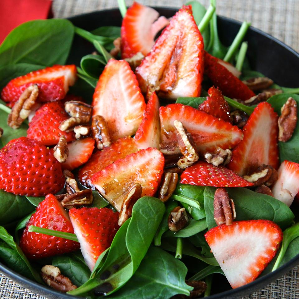 Strawberry and Spinach Salad with Honey Balsamic Vinaigrette Shelby Cady