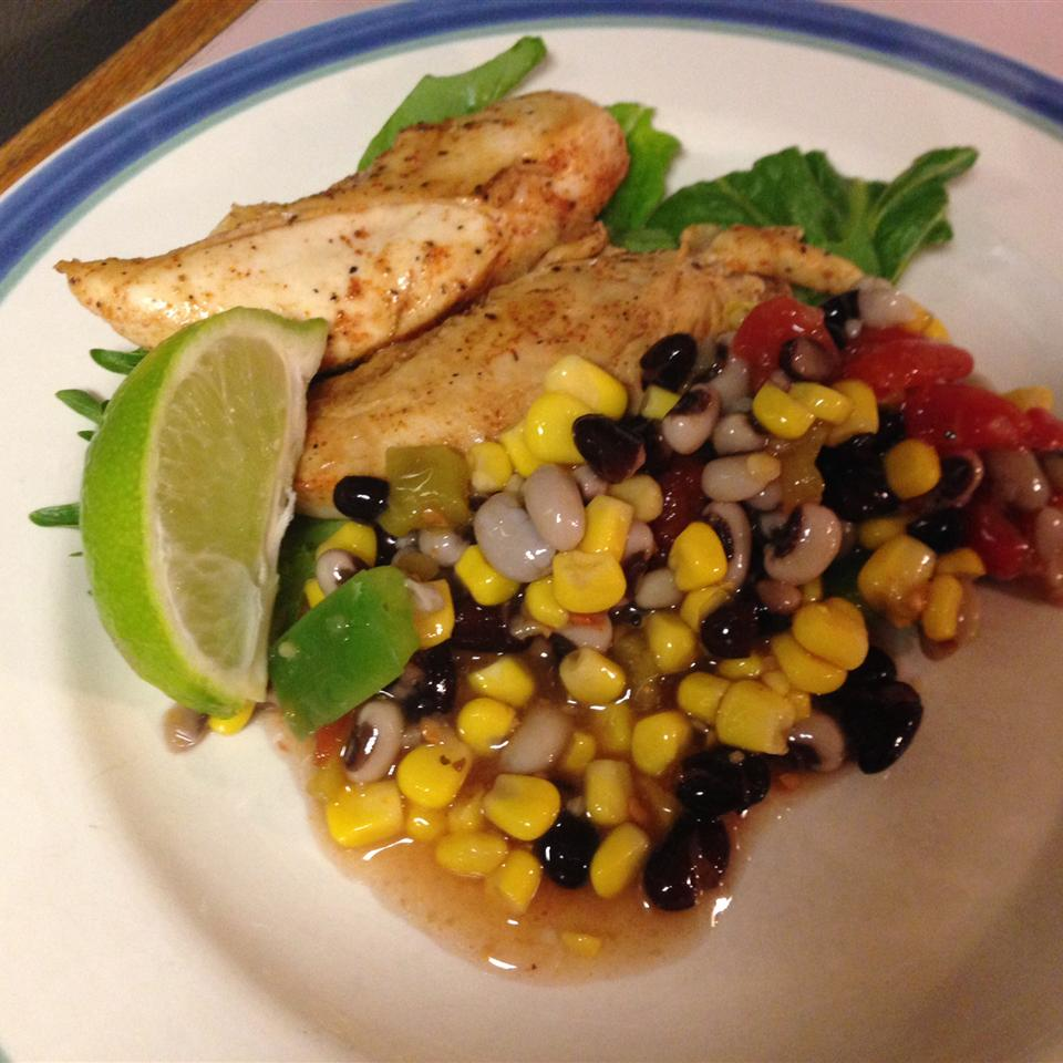 """""""This main dish stars chicken marinated in tequila that's then grilled, and topped with Texas Bean Salsa and splashed with lime juice,"""" says IIJUAN12."""