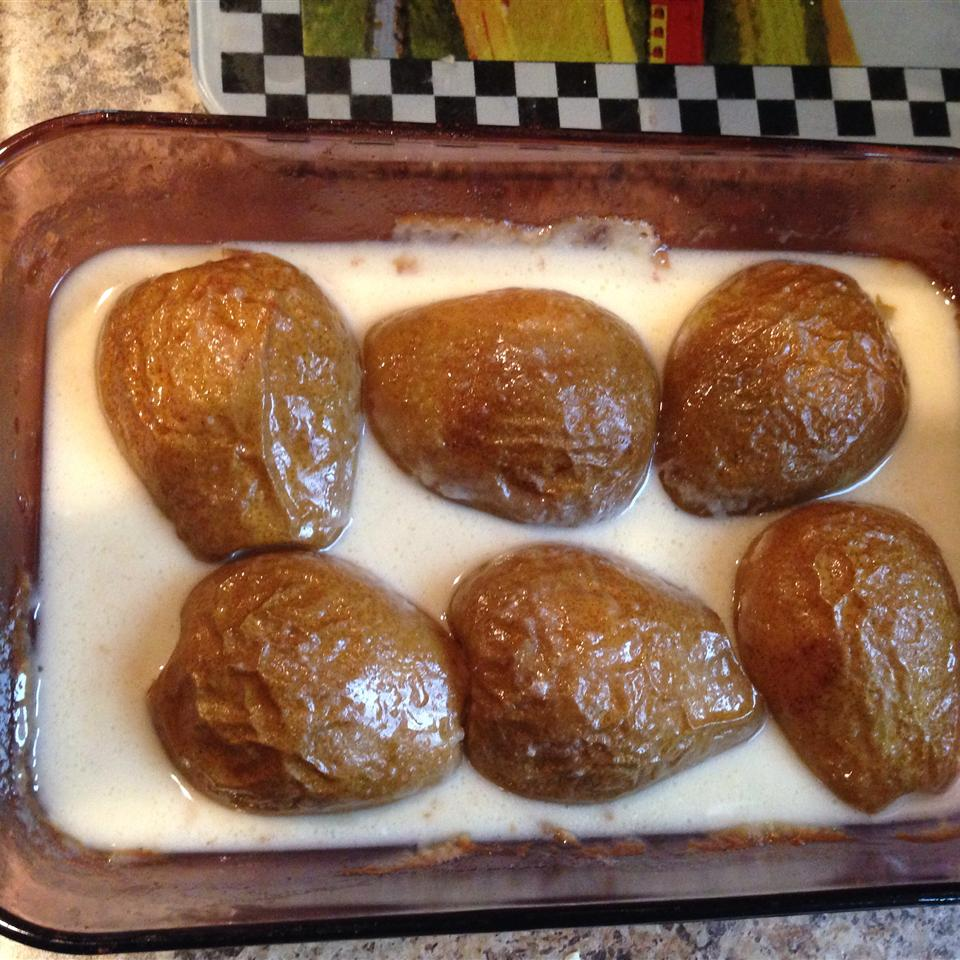 Creamy Baked Pears raye bradley