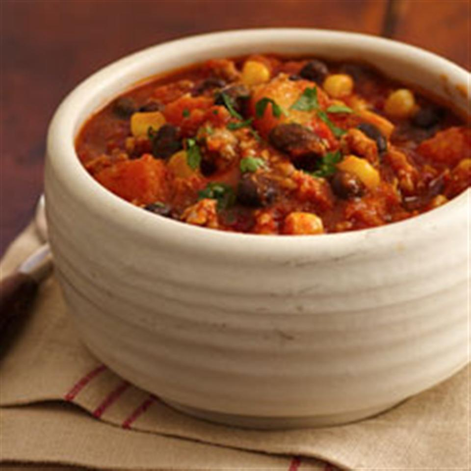 Tex-Mex Turkey Chili with Black Beans, Corn and Butternut Squash Trusted Brands