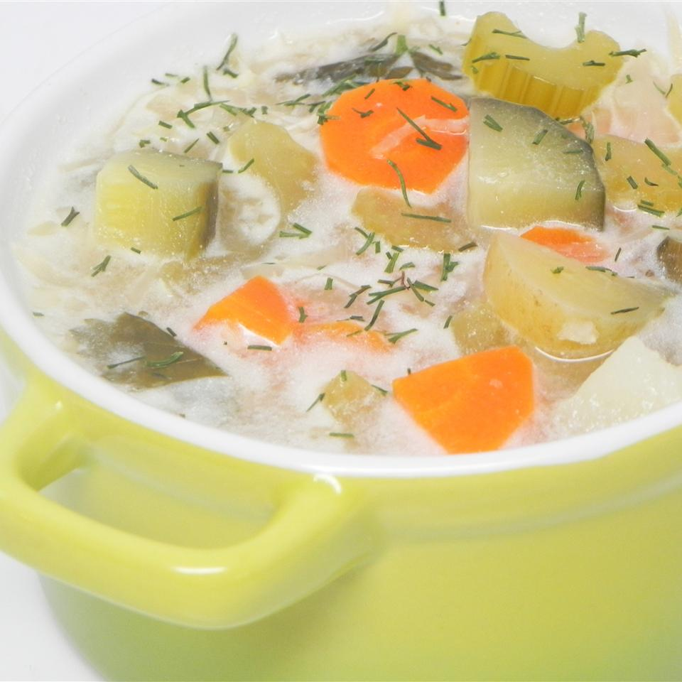 Authentic Polish Pickle Soup (Zupa Orgorkowa) baginska