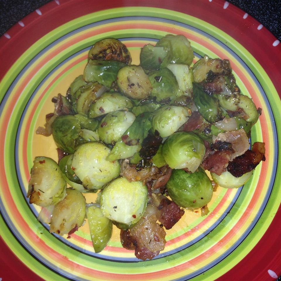 Sauteed Brussels Sprouts with Bacon and Onions